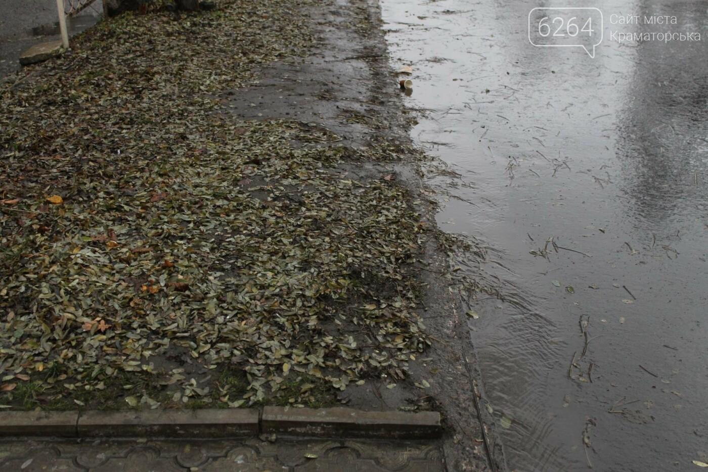 Краматорские коммунальщики не справляются с листвой на городских улицах, фото-1
