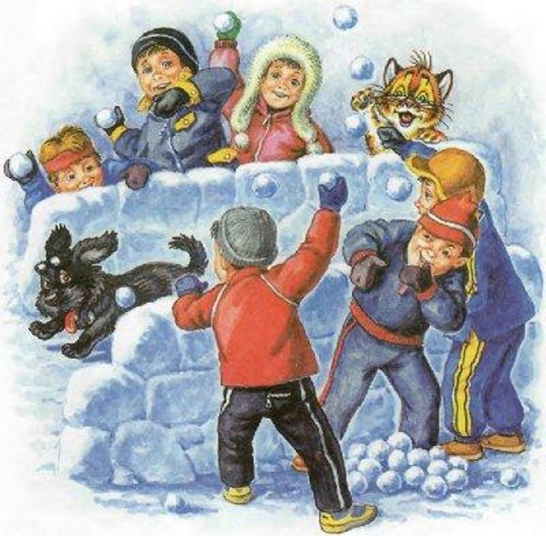 Картинка детей играющих в снежки