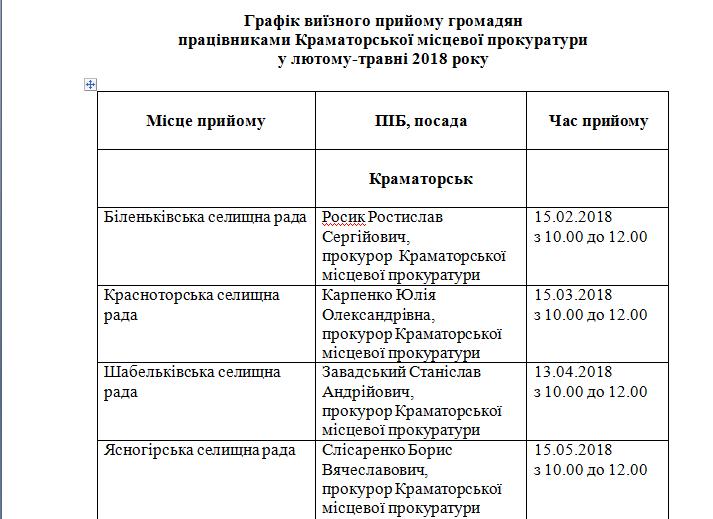 График выездных приемов граждан руководством прокуратуры Краматорска, фото-1