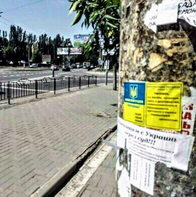 Партизаны расклеили патриотичные листовки в центре Донецка, фото-2