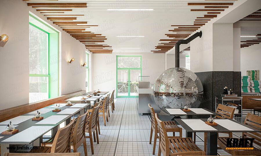 Дизайнерский подвесной потолок из кубообразной рейки KRAFT с системой освещения KRAFT Led в интерьере кафе, ресторана