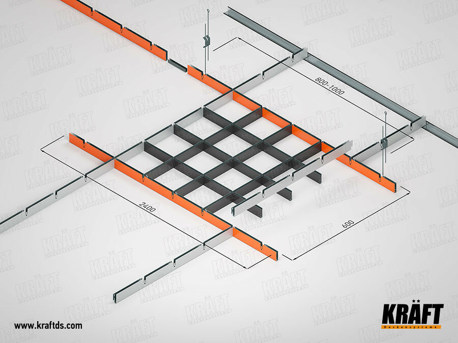 Схема монтажа подвесных потолков грильято KRAFT