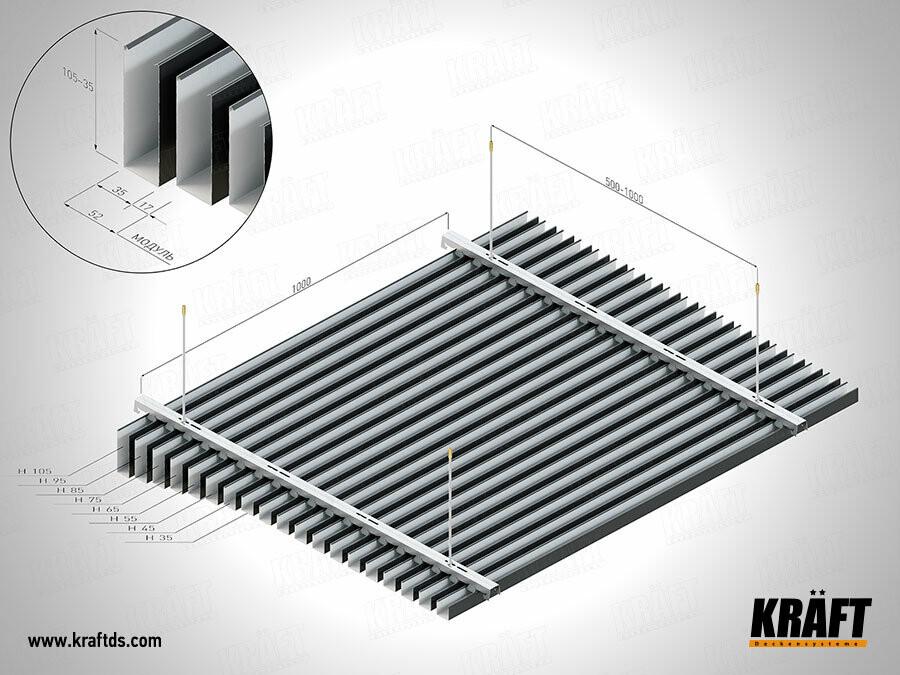 Схема монтажа подвесных потолков из кубообразной рейки KRAFT