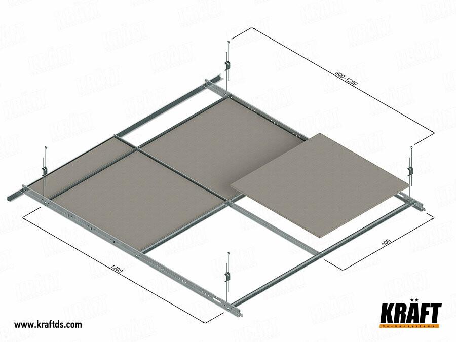 Схема монтажа подвесных потолков с Т-профилем KRAFT